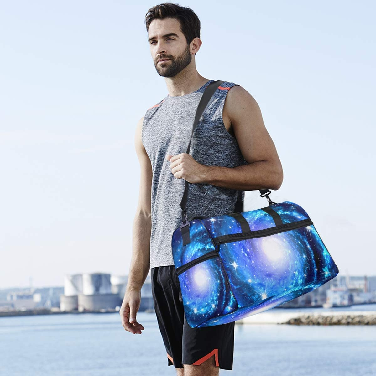 FANTAZIO Amazing Star River Sports Duffle Bag Gym Bag Travel Duffel with Adjustable Strap