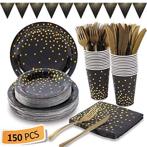 Black and Gold Party Supplies 15...