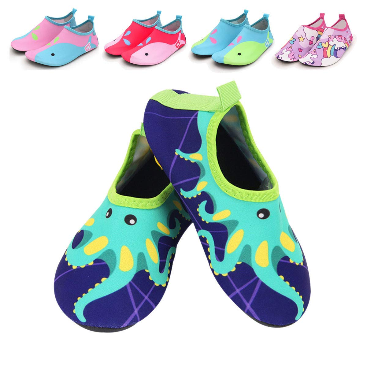 BENHERO Baby Boys and Girls Barefoot Swim Water Skin Shoes Quick Dry Non Slip Outdoor Aqua Socks for Beach Pool Sport Surf Boating Sailing Yoga NO.01 Toddler Kids Unisex Water Shoes