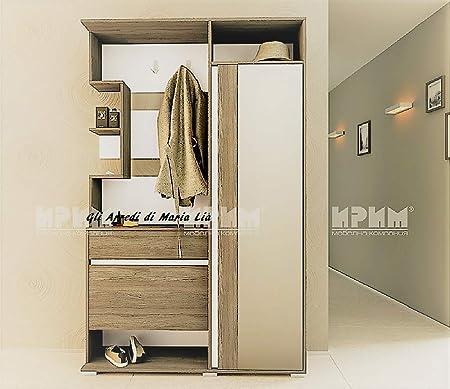 Gli Arredi di Maria Lia Mobile Ingresso Moderno con Specchio e Appendiabiti Modello City 4000 corridoio