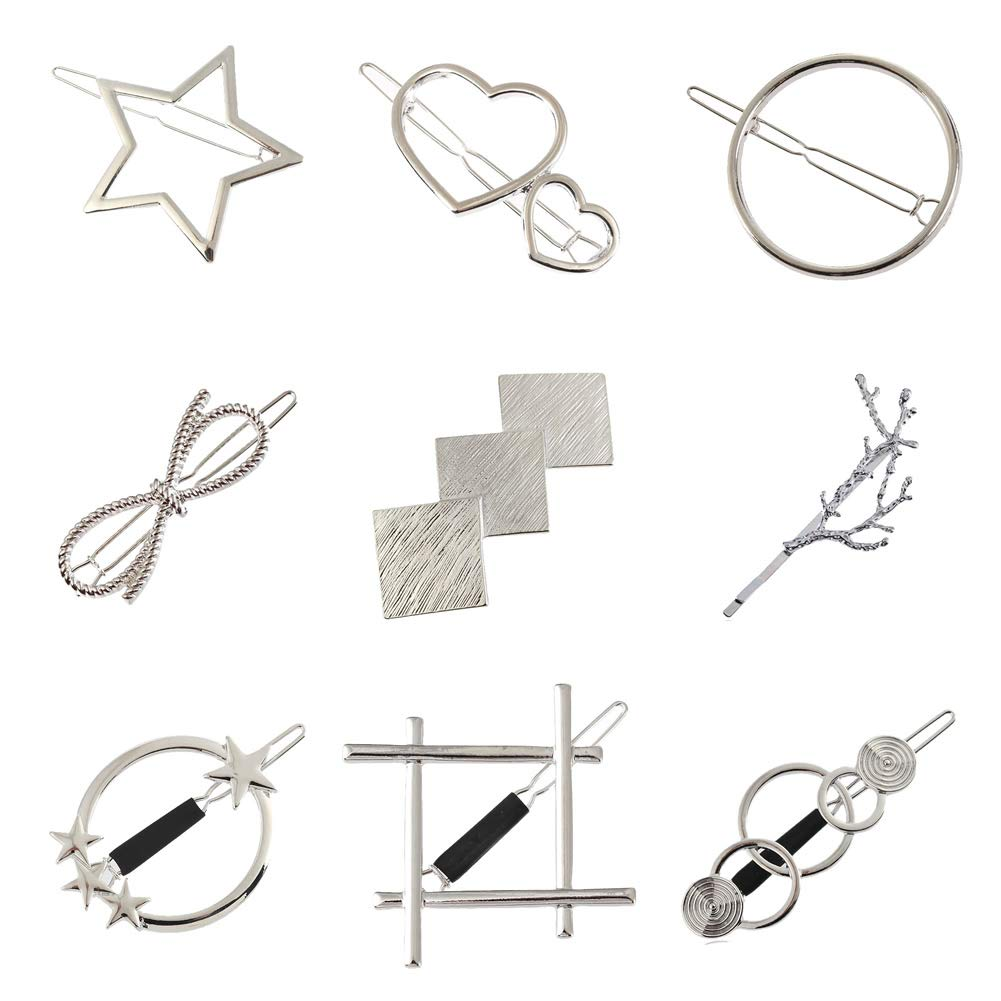 9 Pack Korean Silver Vintage Retro Geometric Minimalist Hair Clip Hairpins Snap Barrettes Comb Claw Clamp Bobby Pins Alligator Hairclips Wedding Party Hair Styling Ornaments Accessories for Women Girl