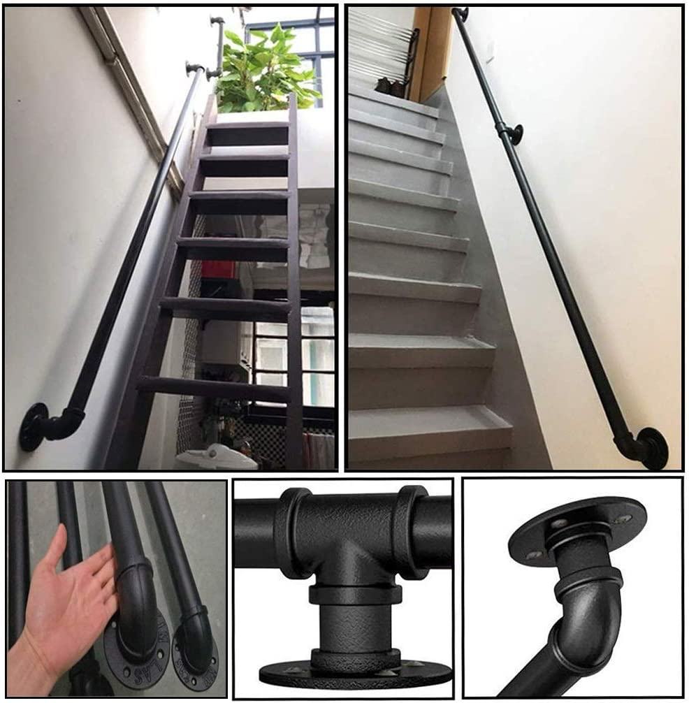 Professional Industrial Style Stair Black Pipe Handrail Home Against The Wall Indoor Loft Elderly Railings Handrails Corridor Non-Slip Wrought Iron Hand Rails GJIF Stair Banister Handrails Handrail