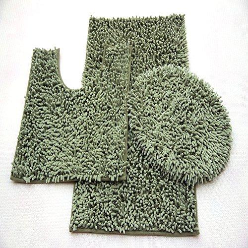 Chenille 3 Piece Set (3 Piece Ultra Soft Microfiber Mixed Shiny Chenille Bath Mats Set Large Mat 19.5