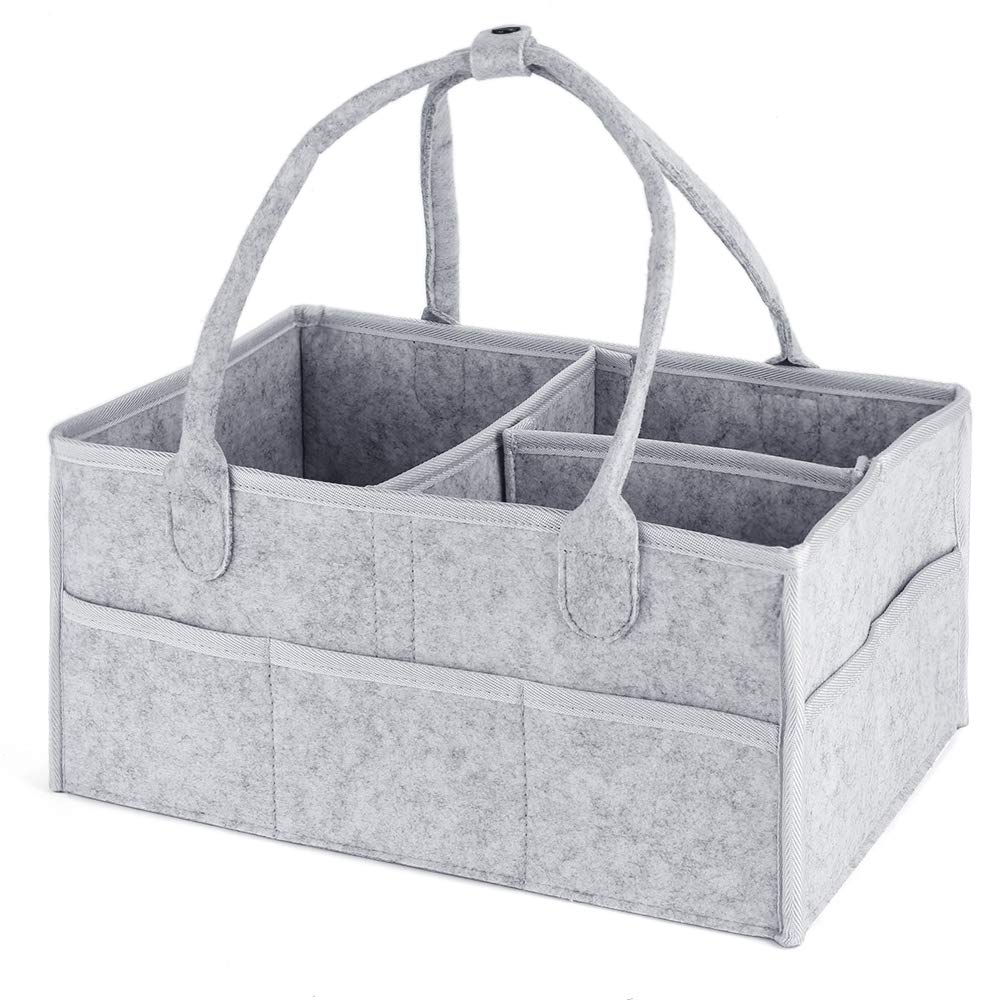 Diaper Caddy Organizer for Baby - Nursery Storage Bin for Changing Table and Toys - Large, Excellent for All Diaper Sizes, Wipes, Baby Travel - Newborn Registry Gifts - Gray