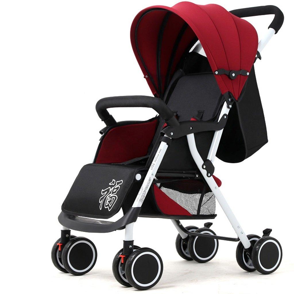 Kinderwagen, leichte Klapp-Vierrad, Federung, kann sitzen und liegen, halbe Lycra Cotton Markise
