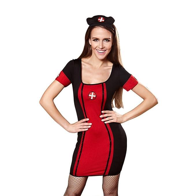 Uniformes De Enfermera De Rol De Halloween Uniformes De Juego Lencería De Pijamas Sexy,Red