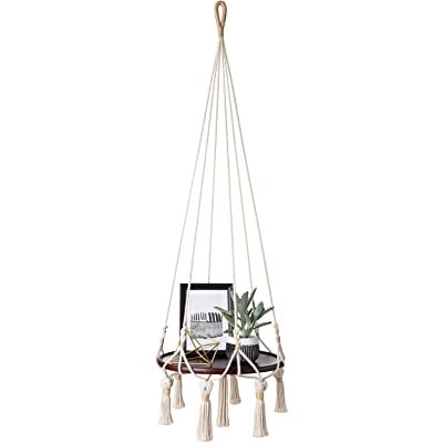 Mkono Hanging Shelf Macrame Plant Hanger Flower Pot Holder Boho Home Decor (with Wood Plate) : Garden & Outdoor