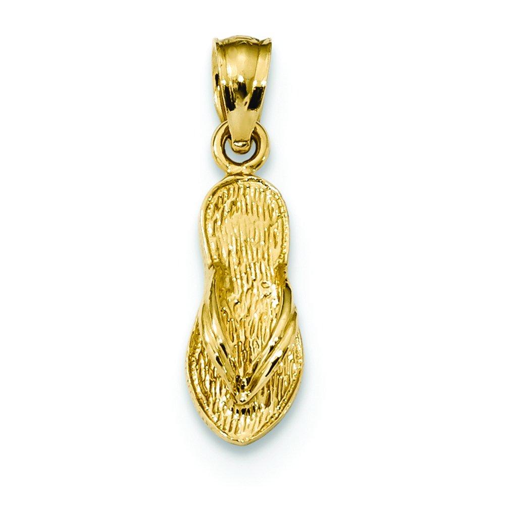 14K Yellow Gold Textured Flip Flop Charm Pendant