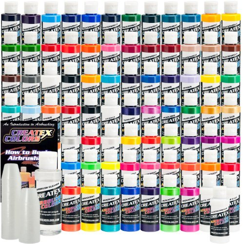 74 COLOR CREATEX COLORS PAINT SET-Airbrush-Hobby-Craft by Createx