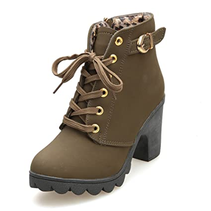 Women High Heel Ankle Boots, Ladies Leather Lace Up Platform Shoes, Fashion Buckle Boots