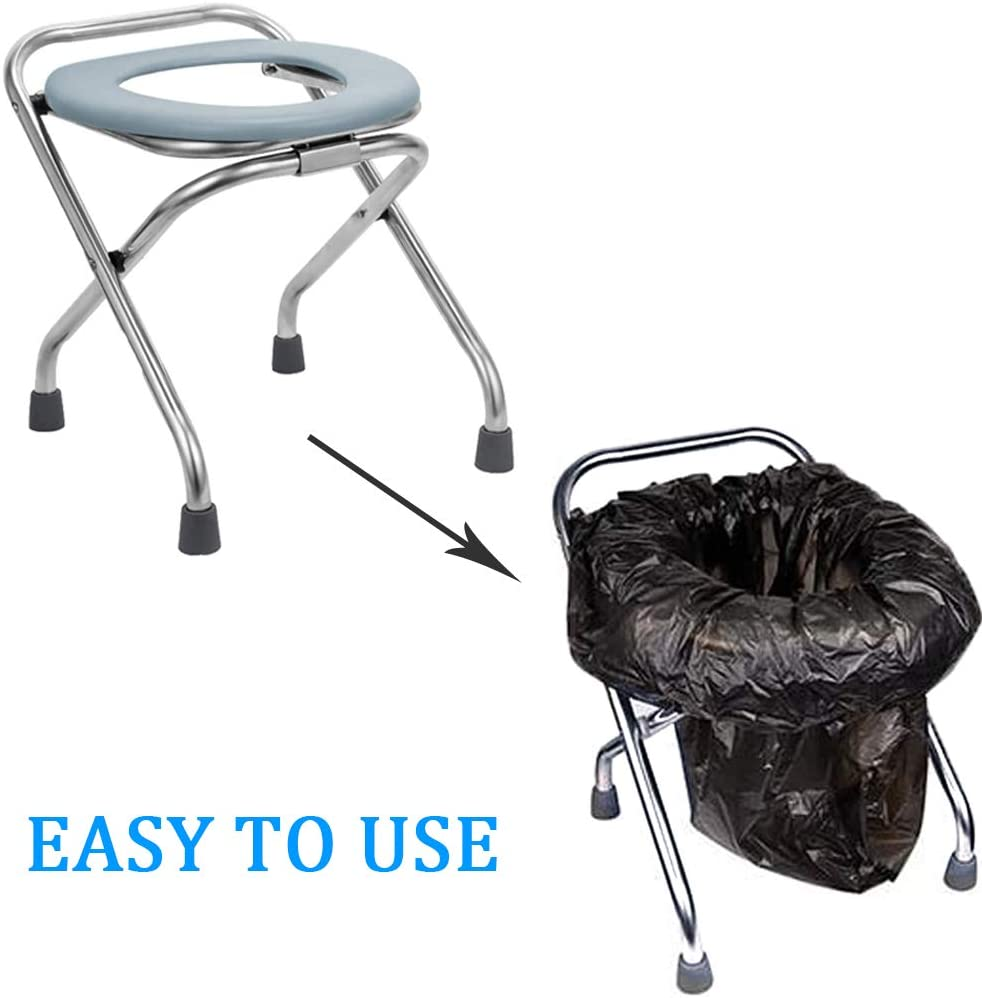 """ZCRANK Portable Toilet Seat 16.5"""" High Stainless Steel Folding Camping Toilet Portable with Carry Bag, Travel Seat Perfect for Camping, Boating, Traveling and More : Sports & Outdoors"""