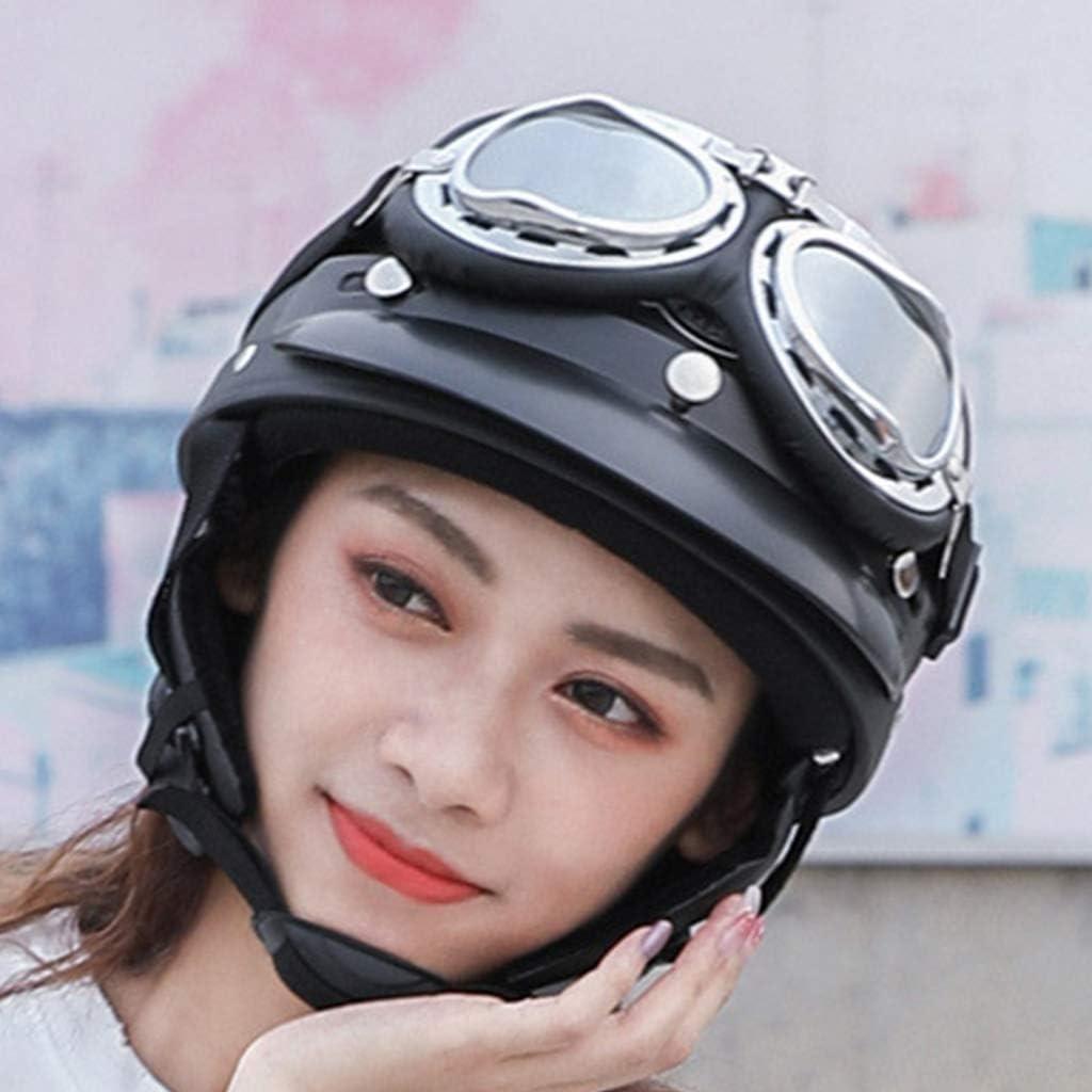 casco de motocicleta Youliy Casco de bicicleta para mujer estilo vintage de cara abierta resistente al viento azul