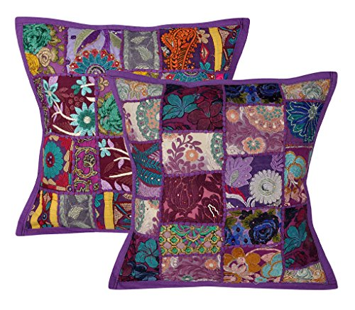 Lalhaveli Decorative Embroidery Patchwork Cotton Cushion Covers 18 X 18 Inches Set of 2 Pcs