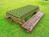 Ambesonne Kente Pattern Outdoor Tablecloth, Geometric Vertical Borders Funky Colorful Native Kenya Design with Triangles, Decorative Washable Picnic Table Cloth, 58 X 104 Inches, Multicolor