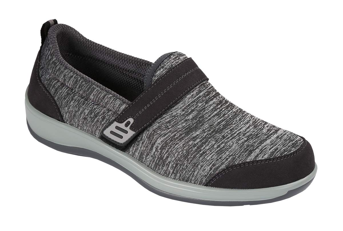 Orthofeet Bunions Plantar Fasciitis Arch Support Orthopedic Wide Diabetic Women's Slip On Shoes Quincy Grey by Orthofeet
