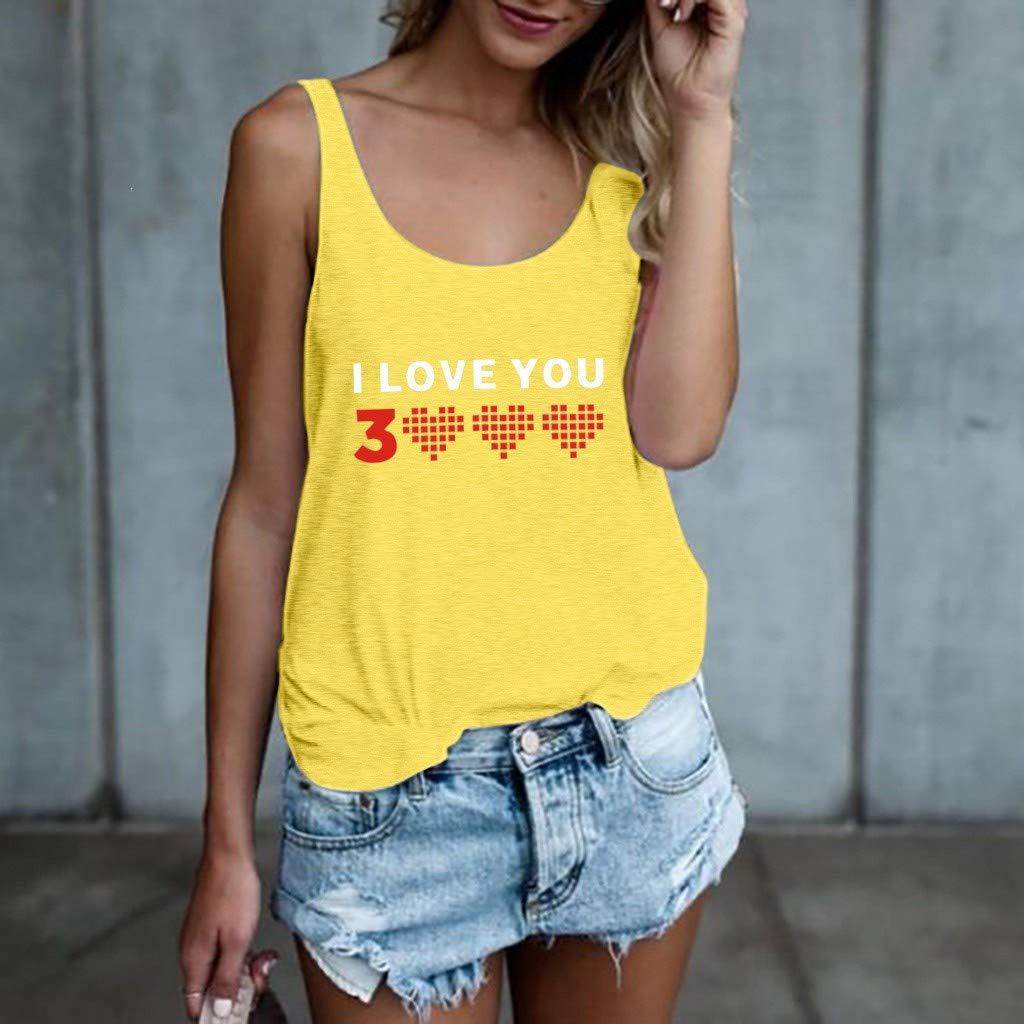 COZOCO 2019 Fashion Camisole I Love You 3000 Vest Womens Printing Tank Tops /ärmellose lose Crop Bluse