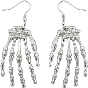 Lux Accessories Halloween Skeleton Hand Goth Drop Earrings