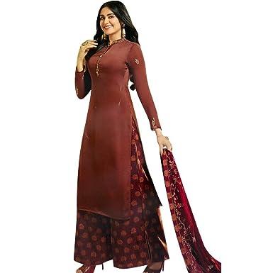6a5e982bbe Amazon.com: Ladyline Wedding Salwar Kameez With Silk Palazzo Pants  Embroidery Handwork Indian Dress: Clothing