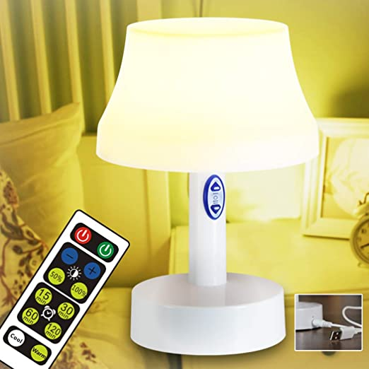 WRalwaysLX Lámpara de noche con mando a distancia, lámpara de mesa alimentada por pilas para dormitorio, salón, mesa de centro: Amazon.es: Iluminación