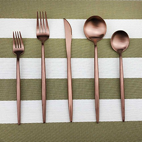 (Stainless Steel Flatware Set Rose Gold, 20 Piece Rose Gold Plated Stainless Steel Copper Color Silverware Set Cutlery Sets, Service for 4 (20 piece))