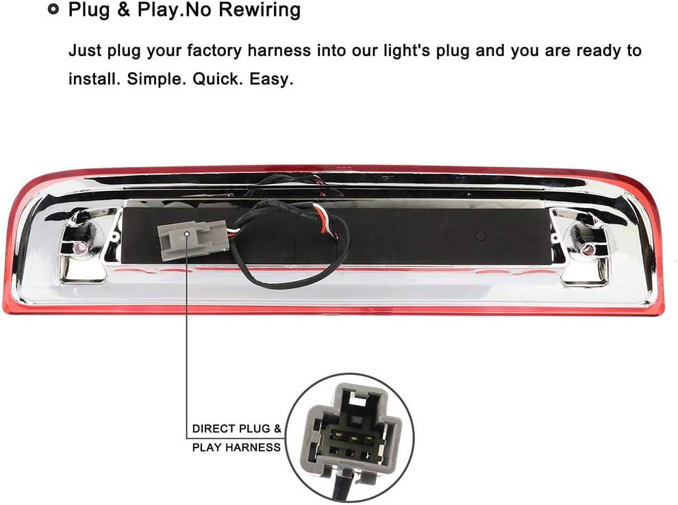 Third Brake Light LED 3rd Brake Light Red Lens Chrome Housing Replacement fit for 2014-2018 GMC Sierra 1500 Chevy Silverado 1500 2015-2018 GMC Sierra 2500HD 3500HD Chevy Silverado 2500 3500