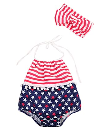 ab8ff0aa620 Urkutoba Baby Girls July Fourth 4th USA Flag Halter Rompers Bodysuit  Sleeveless Jumpsuit+Headband 2pcs