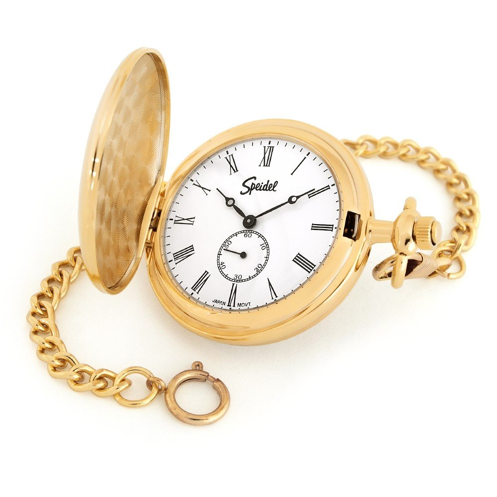 "Speidel Classic Smooth Pocket Watch with 14"" Chain, Gold Tone with White Dial in Gift Box – Engravable"