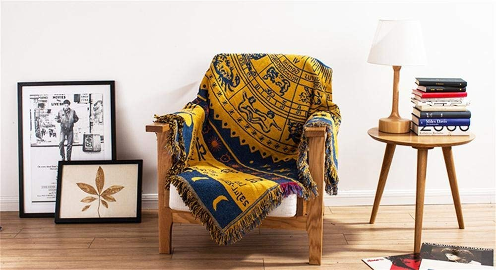 Yellow Jacquard Tassels Throw Blankets for Bed Couch Decorative Soft Chair Cover Athens Guardian 70 x 90 Yachee Bohemian Decorative Cotton Woven Tapestry Throw Blanket