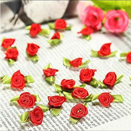 100 PCS Mini Ribbon Bows Roses Flowers Craft Artificial Ornament Applique Sewing DIY (Red)