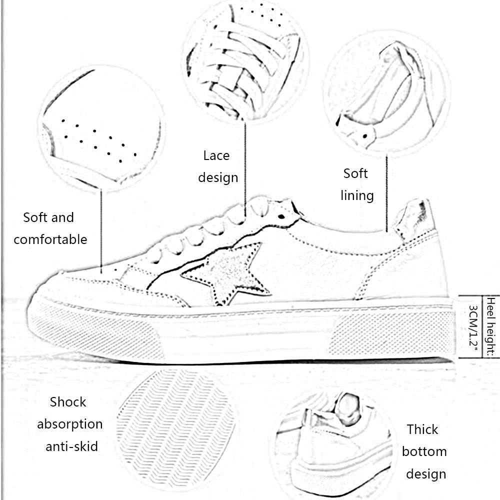 JIAYING Fashion Sneakers Womens Low Top Sneaker Fashion Sneakers,Lace-up Sneaker Breathable Sport Shoe,Comfortable Flat Bottom,Personality Color Matching,in 5 Sizes