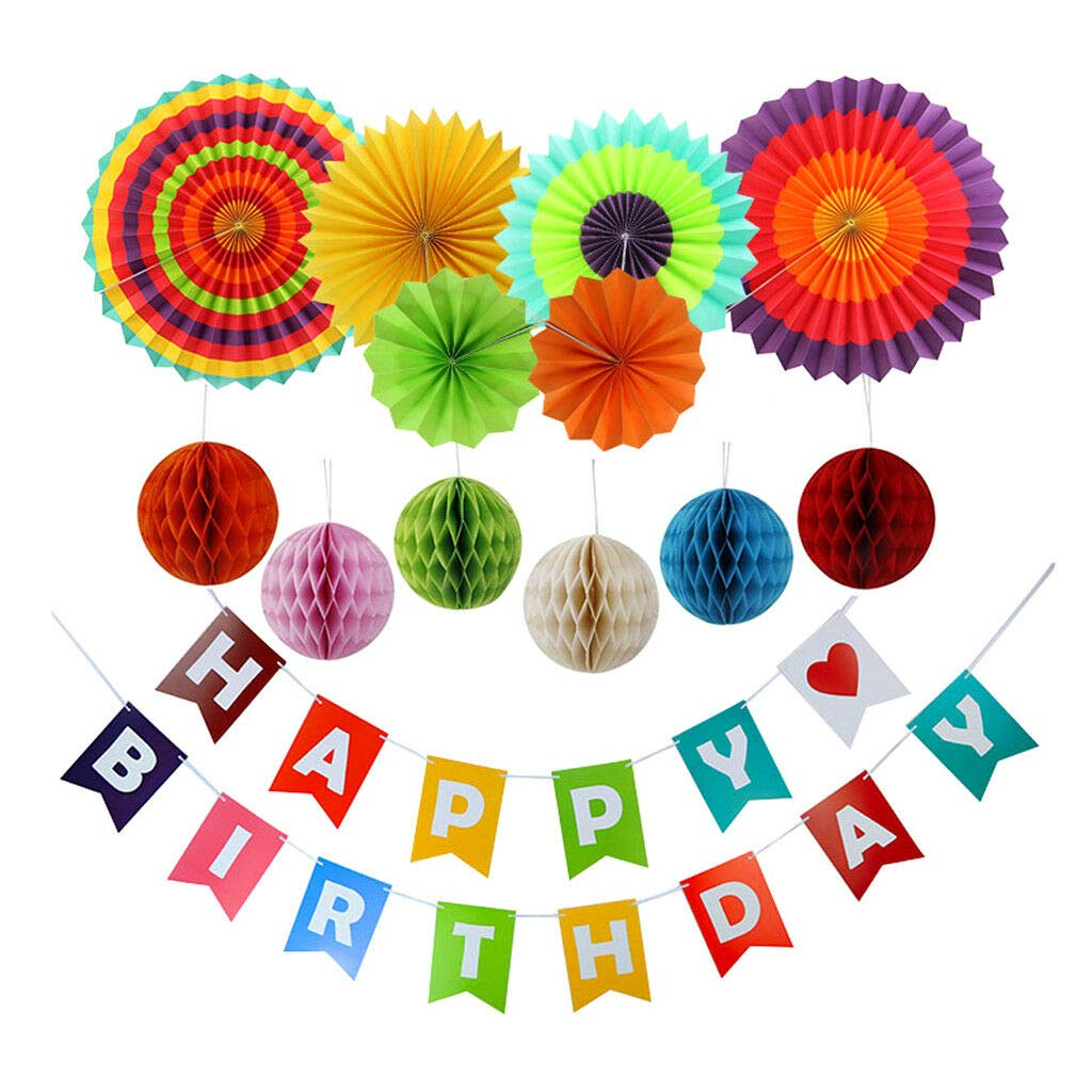 Banner with Colorful Hanging Swirl with Chinese Lantern for Birthday Decor