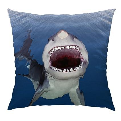 fe6dadb7bbbd Moslion Shark Pillow Home Decorative Throw Pillow Cover Case Big Shark  Mouth Blue Sea Satin Cushion