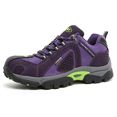 TFO Damen Wasserdichte Trekkingschuhe & Wanderschuhe Anti-Rutsch Bergschuhe & Outdoor Schuhe mit Atmungsaktiver Einlegesohle, Violett, 35 EU