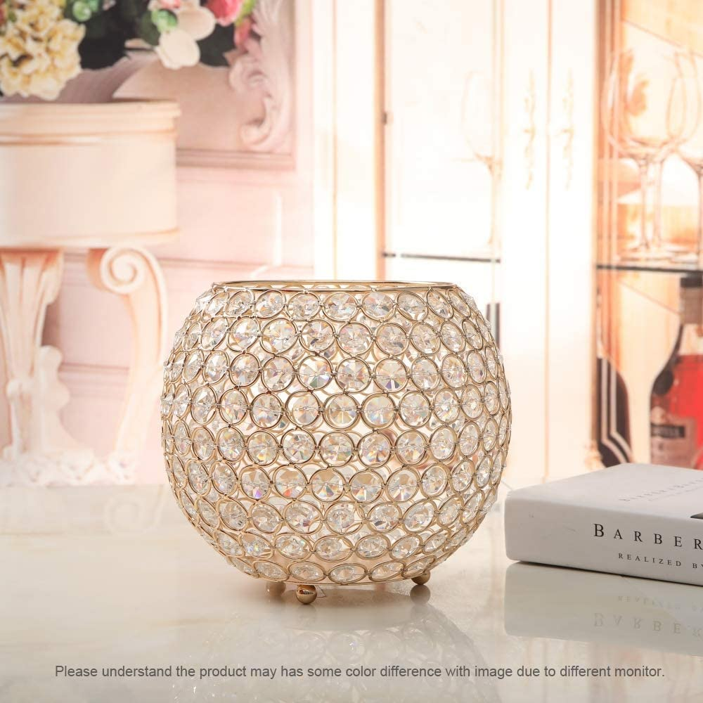 VINCIGANT Gold Bowl Votive Candle Holders//Decorative Candle Lantern for Home Office Wedding Coffee Table Centerpiece Decor