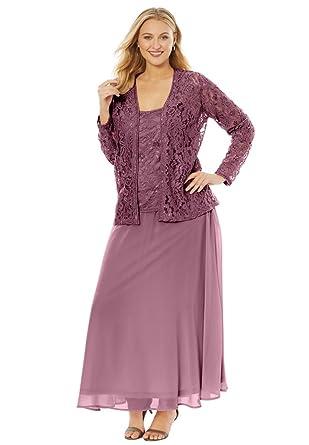 Roamans Womens Plus Size Beaded Lace Jacket Dress At Amazon Womens