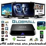 Globmall M8S Fully Loaded KODI Quad Core Android 4.4 Smart Set Top TV Box + Globmall Phone Stand