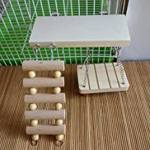 RunHigh Three-Piece Wood Ladder Swing Shelf Perch Sets Toy for Pet Syrian Hamster Gerbil Rat Small Animal Toy Cage Toy