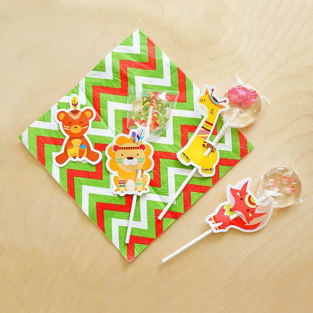 UPKOCH 80pcs carte da lecca-lecca super cute animal candy carte da lecca-lecca lecca-lecca cambio di aula per baby shower decorazione di nozze e feste di compleanno fai da te