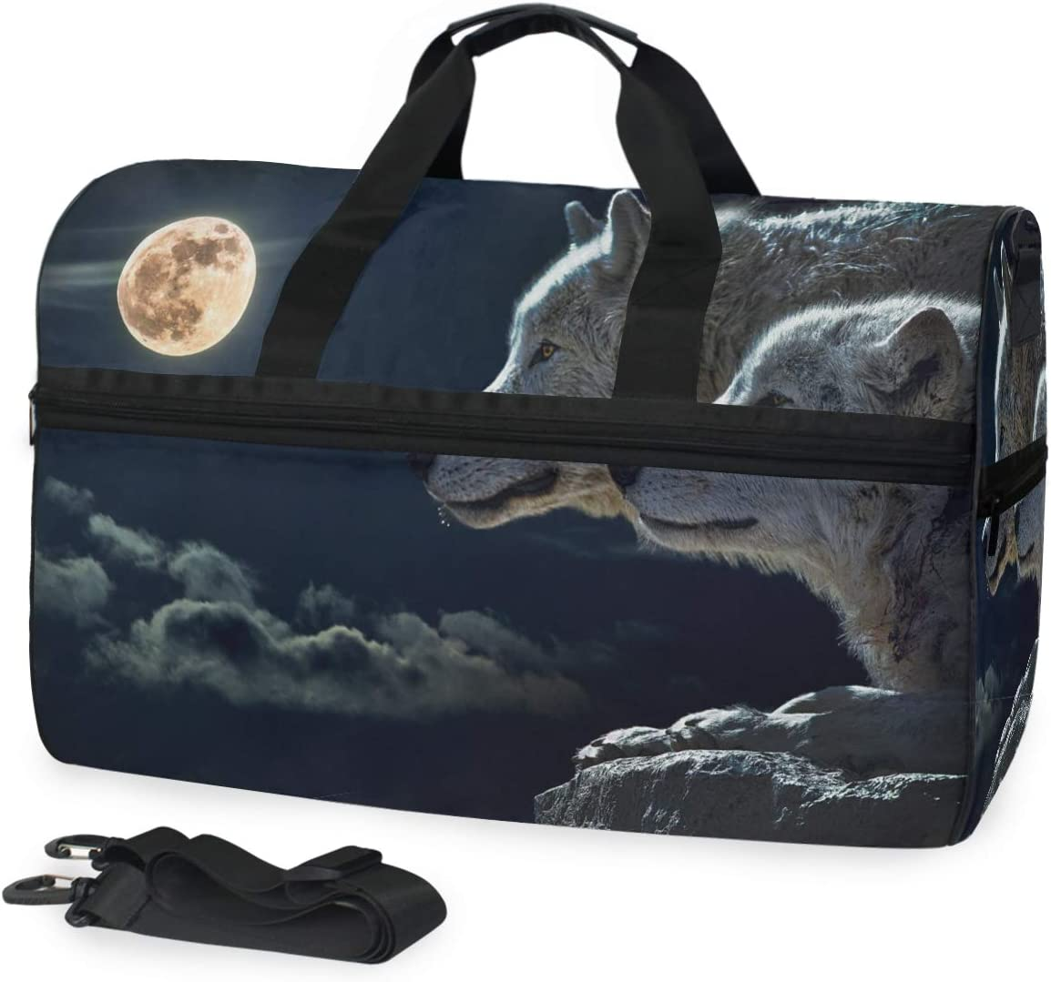 MUOOUM Two Wolf At Night Lunar Large Duffle Bags Sports Gym Bag with Shoes Compartment for Men and Women