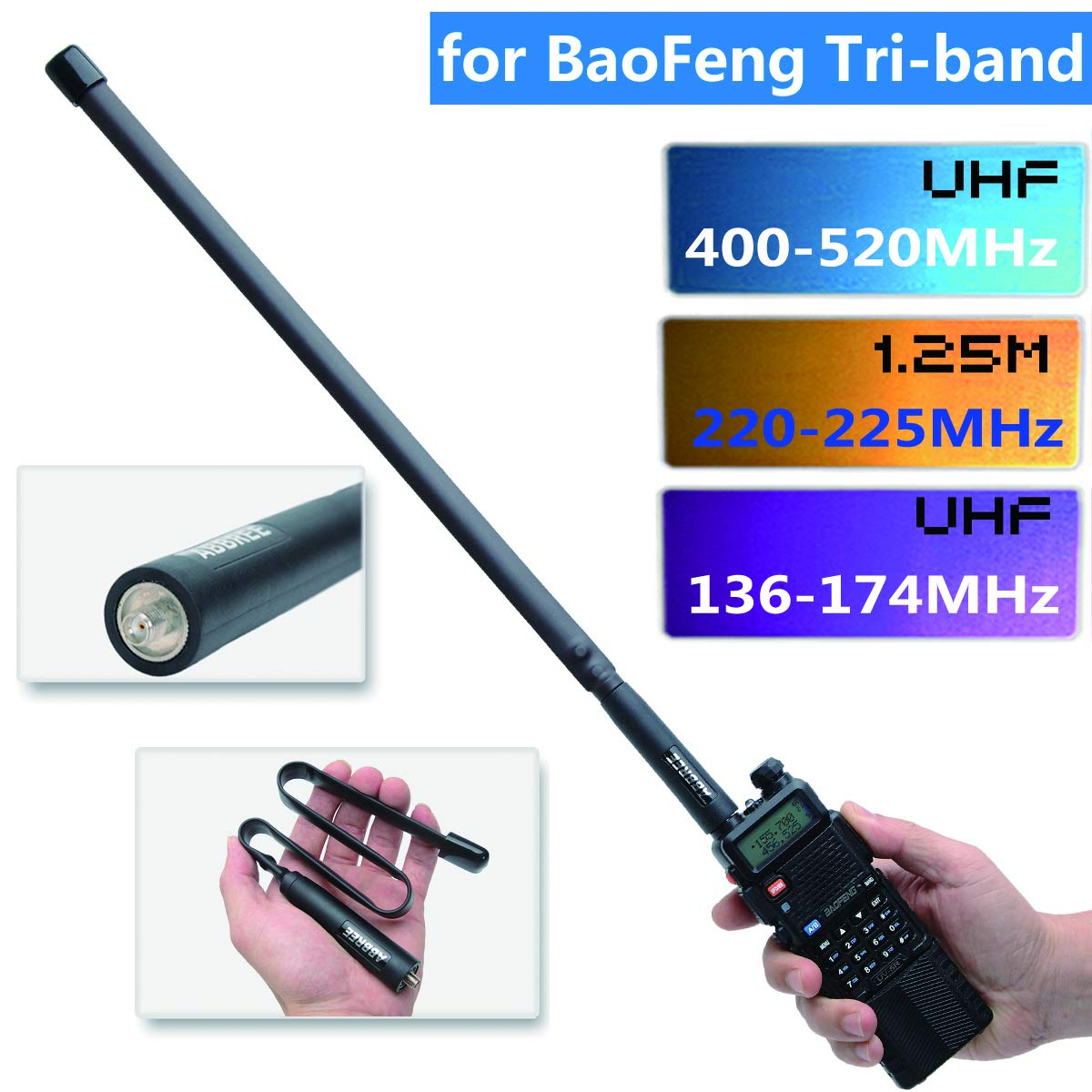 UV-82X3 UV-5RX3 BF-R3 ABBREE Antenne Tactique tri-Bande 144//222//435 MHz 18,8 Pouces SMA Femelle pour Baofeng X UV-82T BTECH UV-5X3 Radio bidirectionnelle 42.5inch
