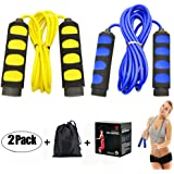 Ponydash 2 Pack Speed Kids Jump Ropes, Lightweight &Adjustable & Durable Fitness Jumping Rope-Exercise Skipping Rope for Women Men Adult-Foam Grips Handles for Boxing, MMA, Fitness, Workout, Crossfit