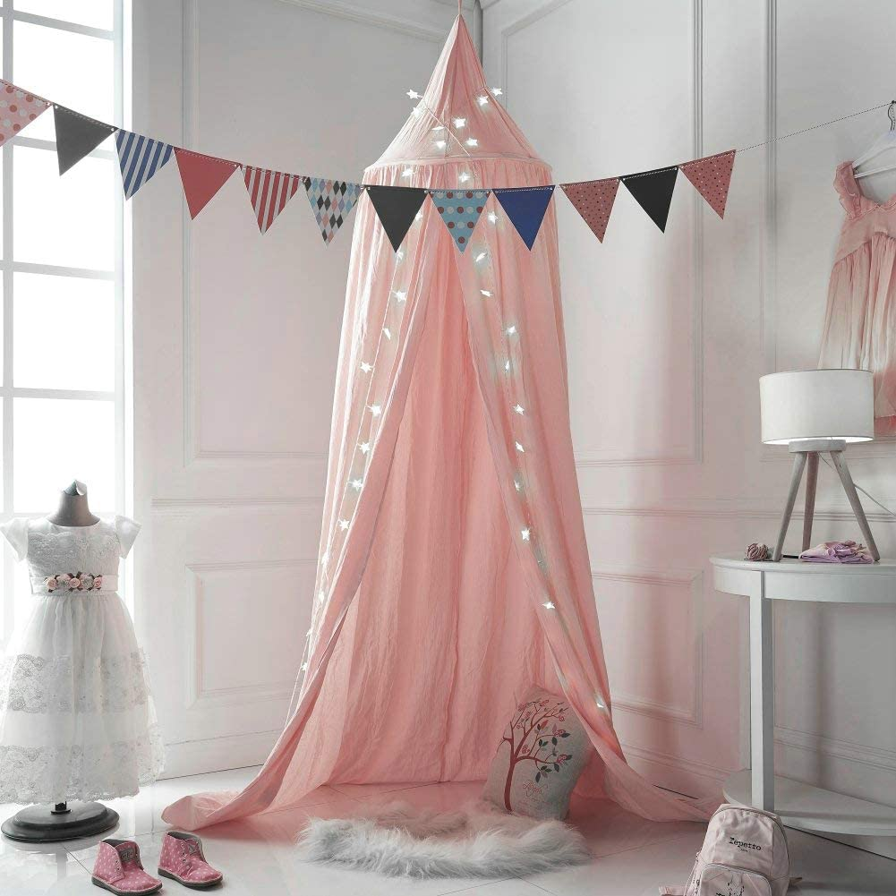 Princess Cotton Play Tent Mosquito Net Nursery Decorations for Kids Bed HOMEKEEPER Bed Canopy with String Light Pink