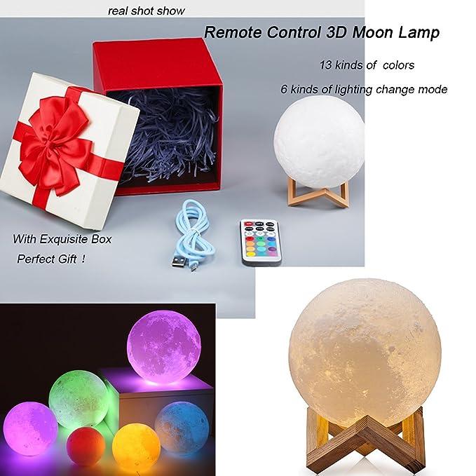 1 opinioni per ROPALIA Telecomando 3D Stampa LED Lampada Luna Moon,13 Colori Dimmerabile