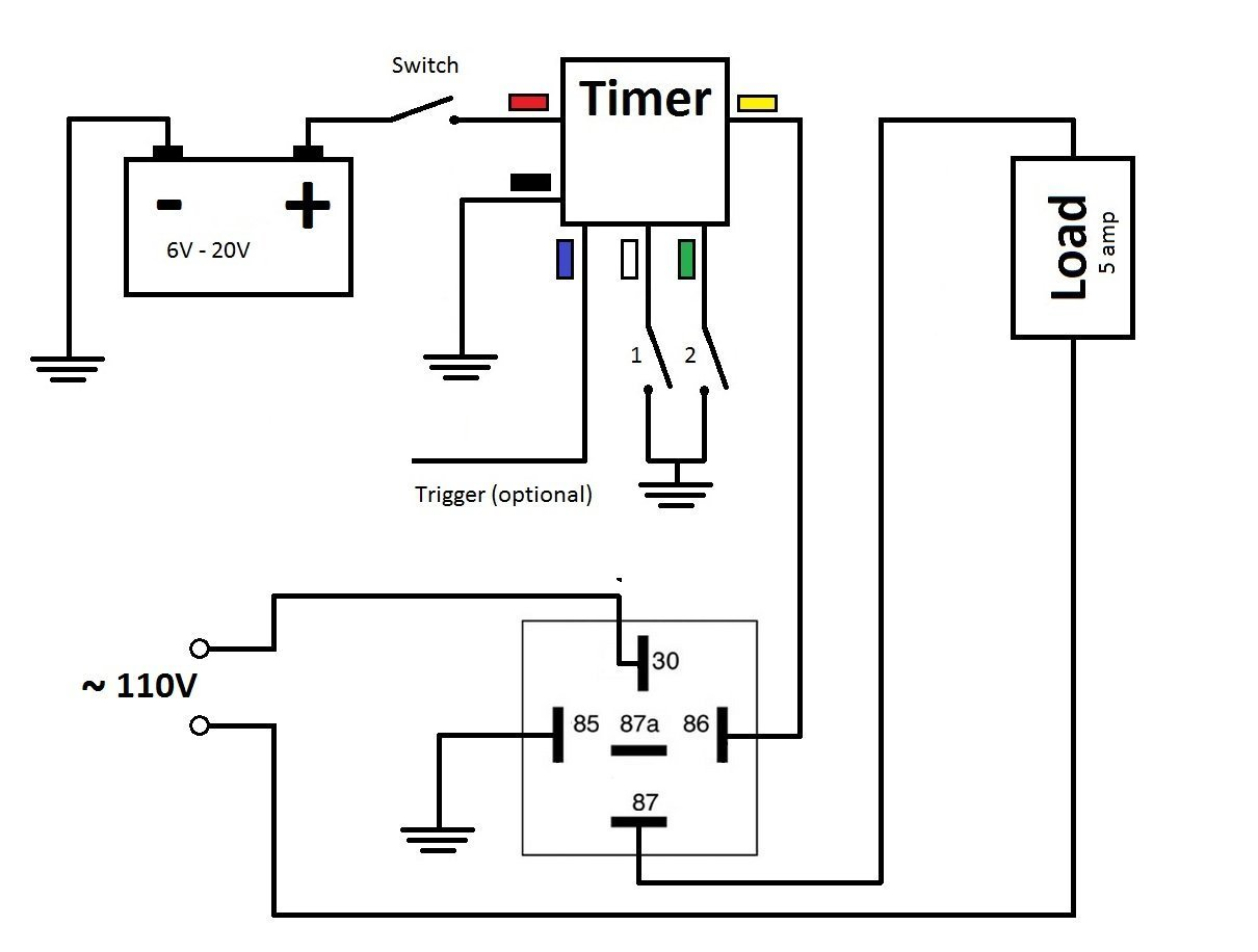 Mini Timer Time Delay Relay 1 Sec To 400 Days 12v 5a Power On Or Double Pole Switch Wiring Diagram Dpdt Get Free Image About Off Cycling And More