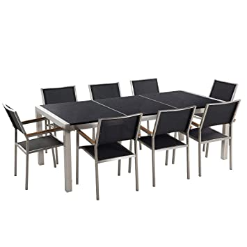 Beliani Gartentisch Aus Edelstahl Platte Granit Dreifach Schwarz