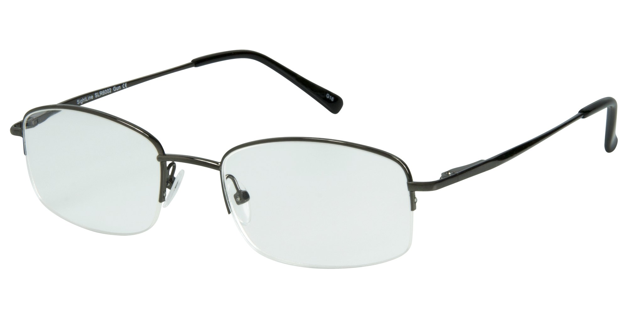 Sightline Multifocal Computer Reading Glasses 6002 Semi-Rimless Designer Frames (2.00, Gunmetal)