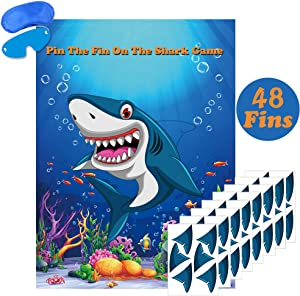 Pin The Fin On The Shark Game Large Ocean Shark Games for Kids Birthday Party Decorations Baby Shark Party Games Supplies - 48 Fins