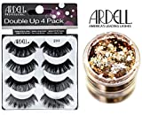 Ardell DOUBLE UP 4-PACK, 203 BLACK, Multipack Lashes, Contains 4 Pair of Lashes (with bonus Skin/Hair GLITTER) (203 Black (Double Up))
