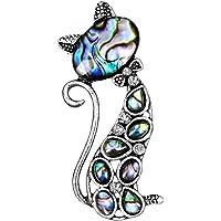 JUNGEN Broche de Diseño de Gato Broche de Artesanía de Concha Prendedores Pins Bufandas Chal Clip para Las Mujeres Ropa…