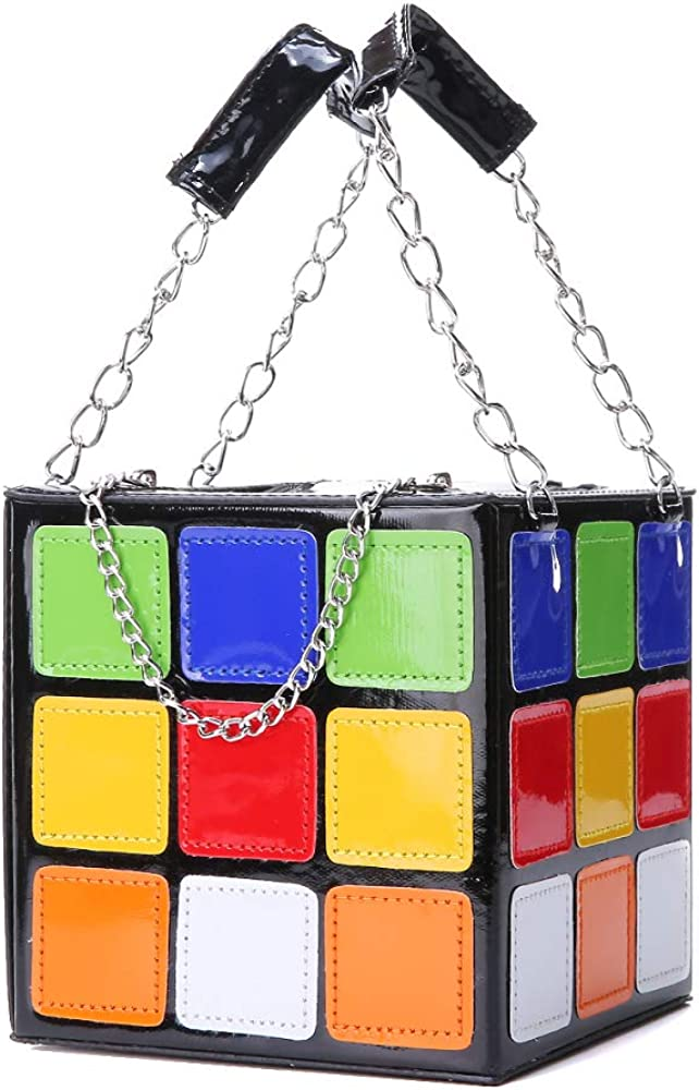 Women's cube shape handbag, magic cube leather handbag wallet